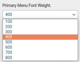 Primary Menu Font Weight