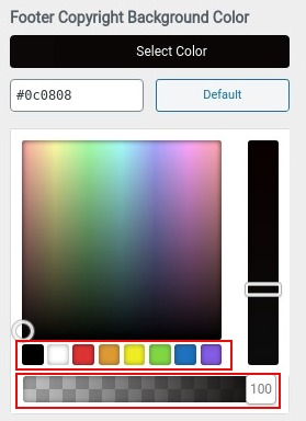 choose color for footer copyright background color