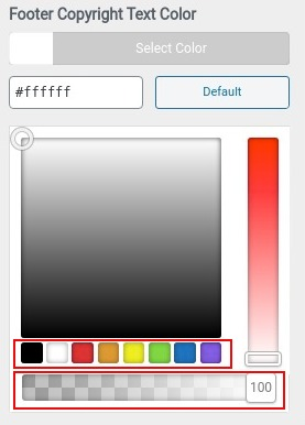 choose color for footer copyright text color