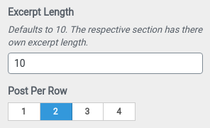 Excerpt length and post per row